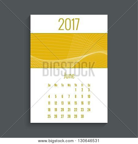 Monthly calendar for 2017. Planner. Template grid. Color yellow.  Week Starts Sunday. Technology, technical vector. Futuristic high tech design. Months june.