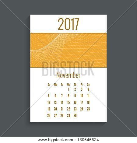 Monthly calendar for 2017. Planner. Template grid. Color orange.  Week Starts Sunday. Technology, technical vector. Futuristic high tech design. Months november.