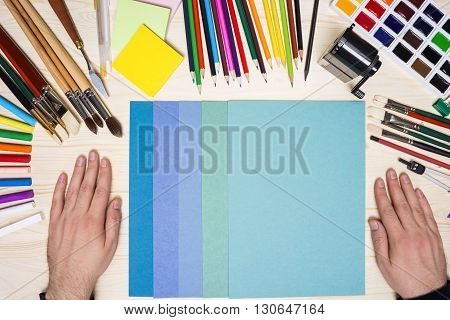 Artist's Hands With Drawing Tools