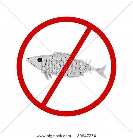 Vector Fishing Prohibited Sign Isolated on White Background