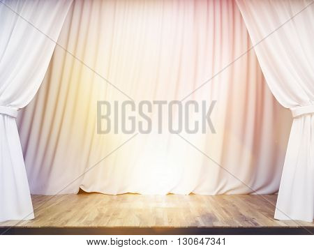 Stage With White Curtains