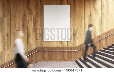 Side view of blank poster on wooden wall and businesspeople climbing stairs. Mock up 3D Rendering