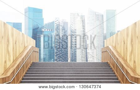 Success concept with staircase leading to Singapore city. 3D Rendering