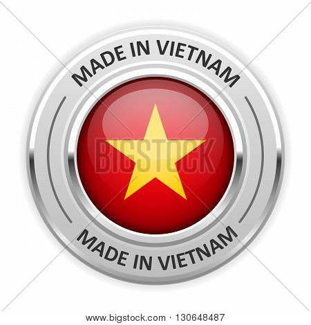 Silver medal Made in Vietnam with flag