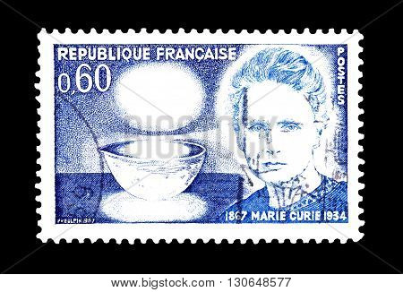 FRANCE - CIRCA 1967 : Cancelled postage stamp printed by France, that shows Marie Curie.
