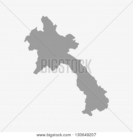 Laos map in gray on a white background