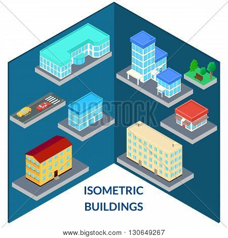 vector illustration. set of icons of the city's buildings - house shop hospital road car tree bench. infographics isometric