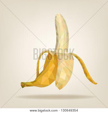 Half peeled triangulated banana. Vector illustration EPS10