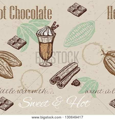 Hand drawing seamless pattern of cacao beans, chocolate, cup of hot chocolate. Vector illustration