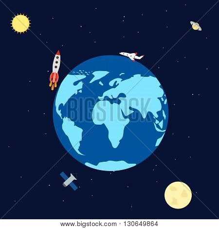 vector illustration. Banner space with planets rocket satellite aircraft. Earth Saturn sun moon. Infographics