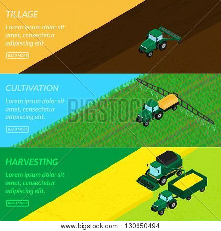vector illustration. Web banners agriculture. tractor tills the field plowing sprays insecticide. Harvester gathers the wheat crop. isometric infographics 3D