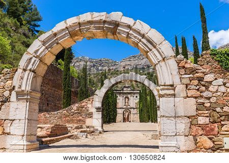 Ruins of Scala Dei a medieval Carthusian Monastery in Catalonia