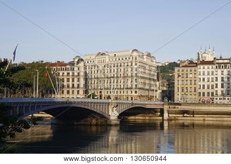 Lyon, France, May 21, 2016 : Rhone River Banks In Lyon. The Bridge Lafayette In Lyon Is The Third Ol