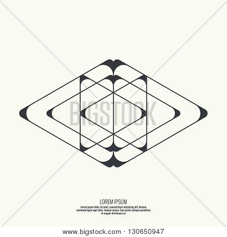 Abstract background with intersecting geometric shapes. Triangle geometry. Badge, monogram, banner. Black and White.