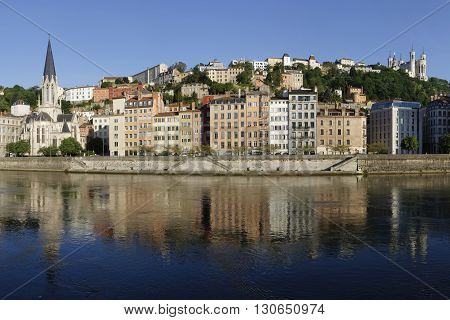 Lyon, France, May 21, 2016 : Sunrise On Saone River And The Historic Districts Of Lyon, Designated A