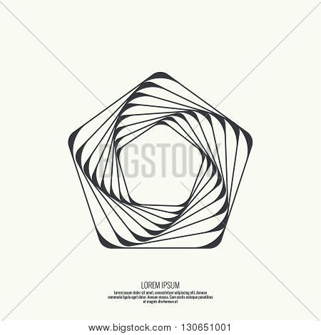 Abstract background with intersecting geometric shapes. Pentagon geometry. Badge, monogram, banner. Black and White. shutter