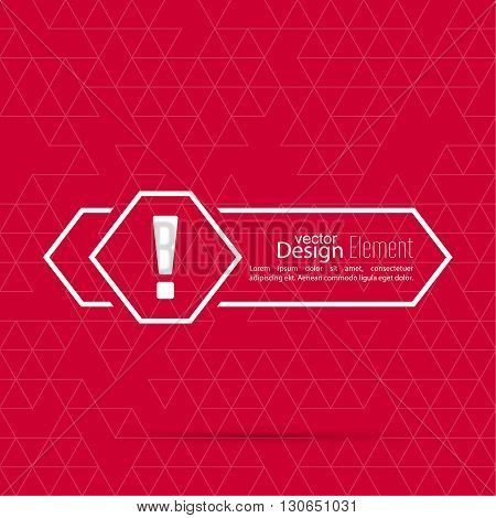 Exclamation mark blank template. Attention sign icon. Empty vector form.  information, text box, textbox on red background. Speech Bubbles. arrow,  pointer