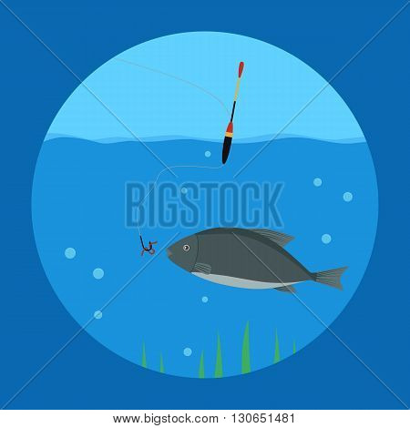 vector illustration. Fishing. Fish in the water swimming towards a fishing hook with a worm . float. vector icon