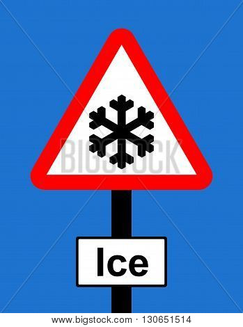 A Warning triangle Risk of ice sign