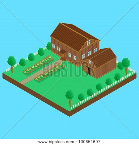 vector illustration. Wooden house and wooden shed fenced. A bed of flowers isometric