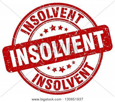 insolvent red grunge round vintage rubber stamp