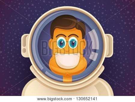 Portrait of a comic astronaut. Vector illustration.
