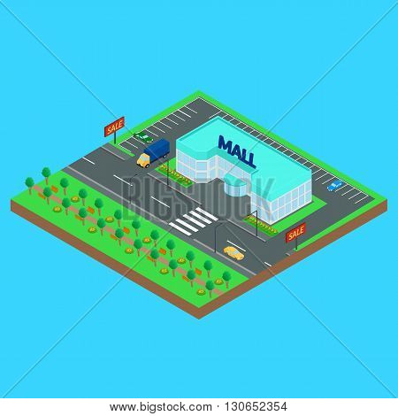 Vector illustration. Mall on a city street. Road car truck Park. Isometric