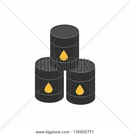 vector illustration. Icon barrels of oil signed the oil - drop yellow.