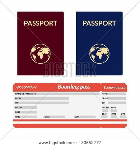 vector illustration. Passport with globe blue and red. Airplane ticket.