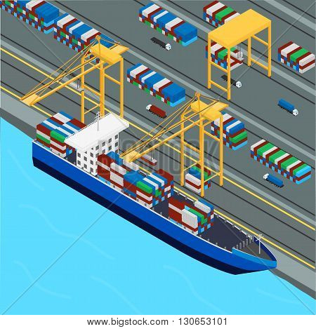 vector illustration. Port port crane loads the cargo ship containers. Trucks transport containers. isometric infographic