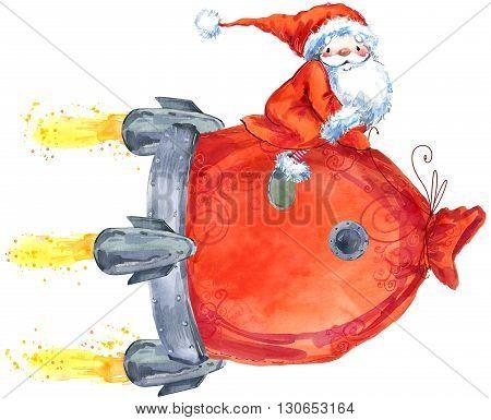 Santa Clause. Funny Santa. New Year Greeting Card. Christmas watercolor background. Cartoon Santa watercolor illustration.
