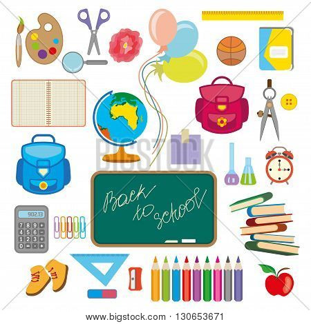 Back to school background with school supplies set vector illustration.