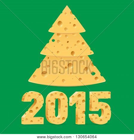 Cheese New Year tree and 2015 on green background.