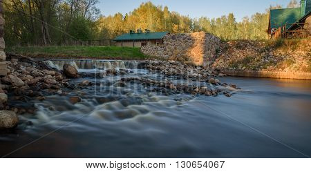 Threshold Of Stones On The River Background Green Grass