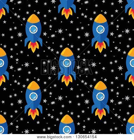 Cartoon rockets in the space, seamless vector illustration