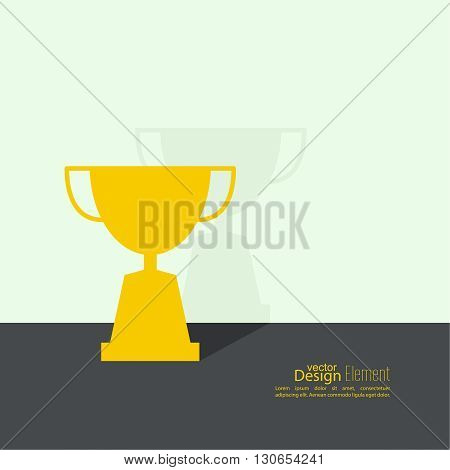 Gold cup of the winner on  pedestal near wall with flat shadow. Abstract background. minimal.
