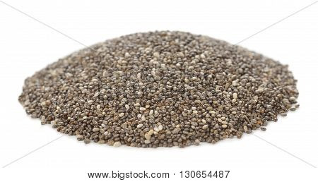 Chia seeds isolated on white background close up