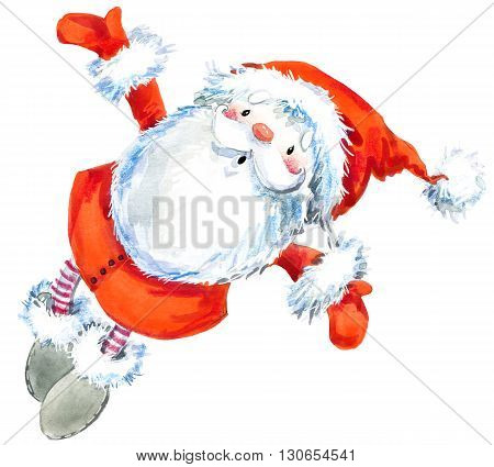 Santa Clause. Funny Santa. New Year Greeting Card. Christmas watercolor background. Cartoon Santa watercolor illustration.