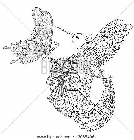 Hand drawn zentangle tribal flying butterfly, Hummingbird in hibiskus for adult anti stress coloring pages, t-shirt print. Boho, bohemian style. Isolated illustration in doodle, henna tattoo design.