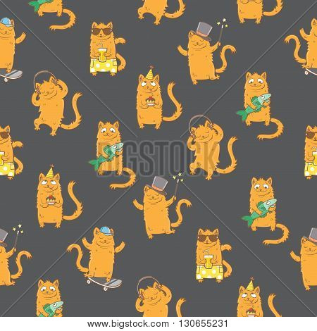 Seamless pattern with cute cartoon cats on dark background. Funny kitten in different poses. Children's illustration. Vector image.