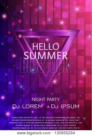 Club Party Flyer, Hello Summer Party Flyer A4. Vector Template Design