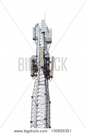 the Tower with aerials of cellular on white background