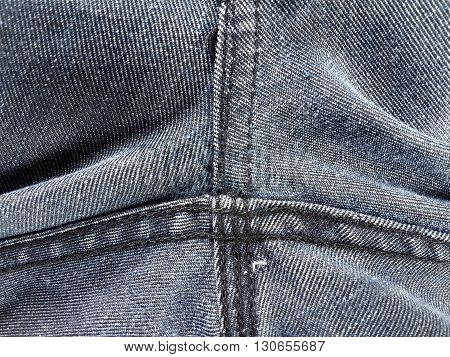 close up rough seam jeans texture for background