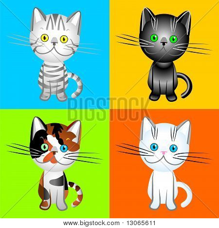 Vector The British Cats Of Various Colors