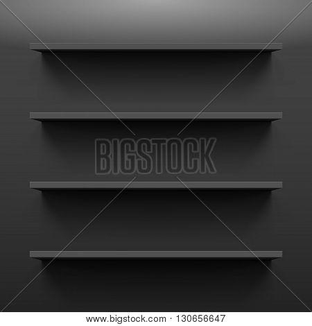 Four gorizontal black bookshelves on a dark wall