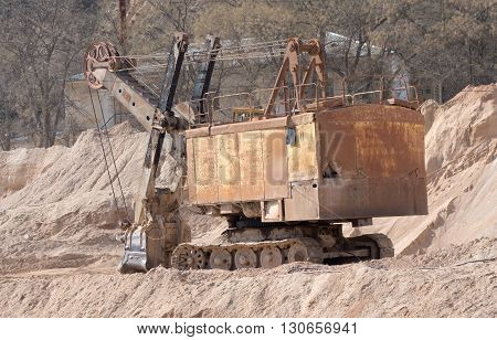 the very Old russian  rusty mine excavator