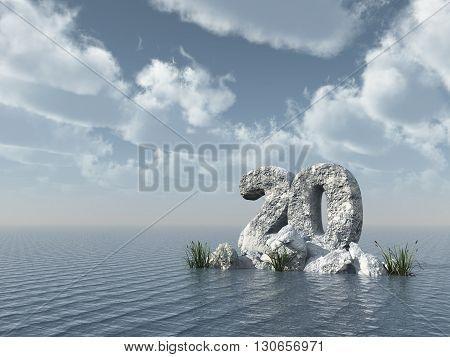 number twenty rock at water - 3d rendering