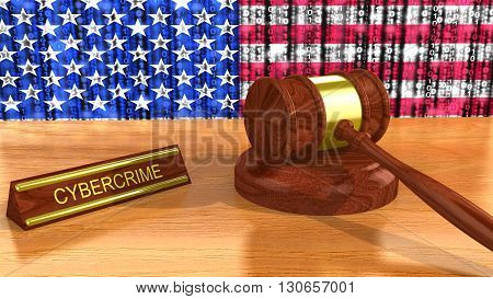 Cybercrime concept with a 3D illustration of a wooden gavel in front of an american digital flag