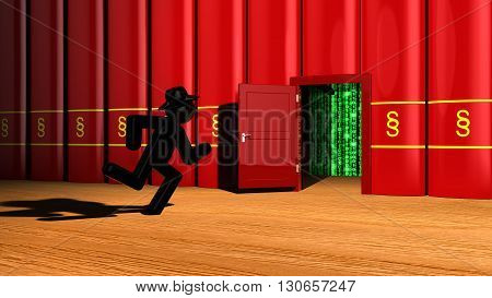 Black hat hacker runs towards red books with a paragraph icon to get to a door that lead to a digital matrix 3D illustration escape the law concept