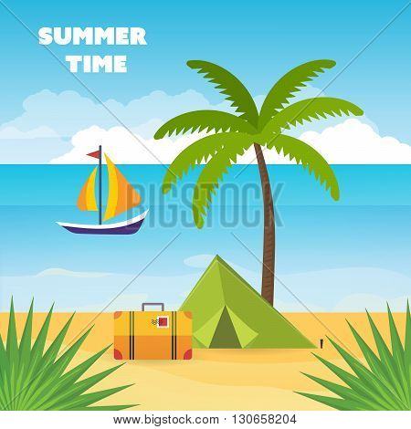 Summer holidays vector background, relax and tourism on the beach under a palm tree. Baggage, tent with travel icons and objects with sea on tropical background.  Flat style vector illustration.